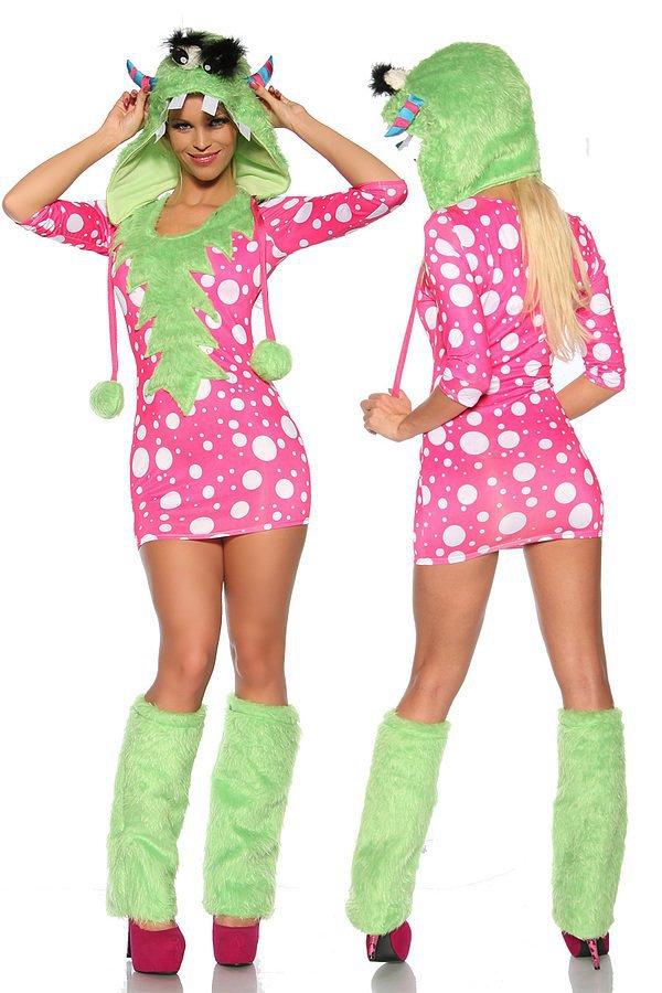 Sexy-Monster-Kostüm grün/pink