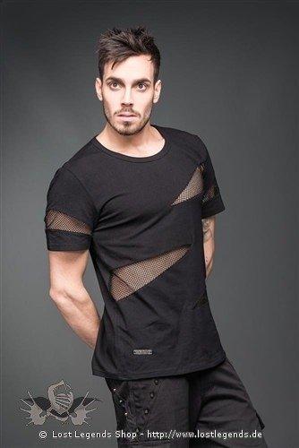 Shirt mit dreieckigen Einsätzen aus Netz