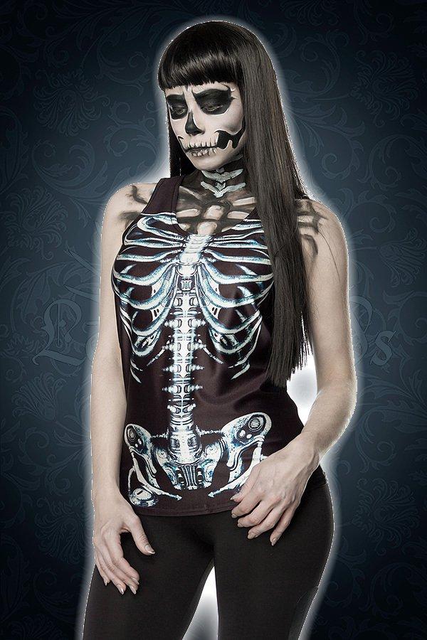 Skelett-Top schwarz/weiß