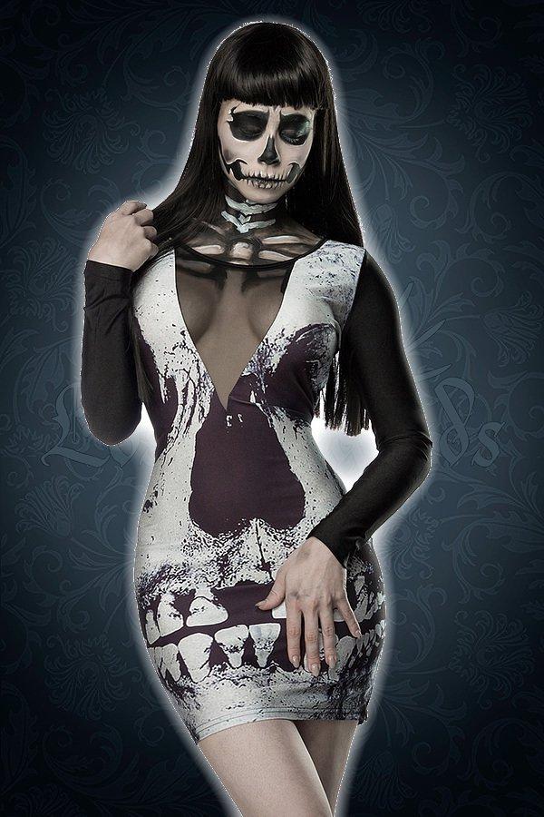 Skull Minikleid schwarz/weiß