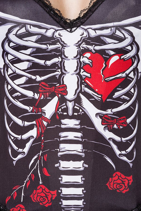Skull Senorita Kostümset schwarz/weiß/rot