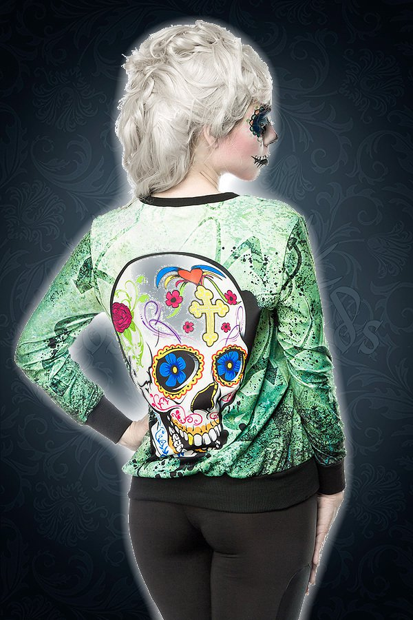 Skull Sweatshirt grün/gemustert