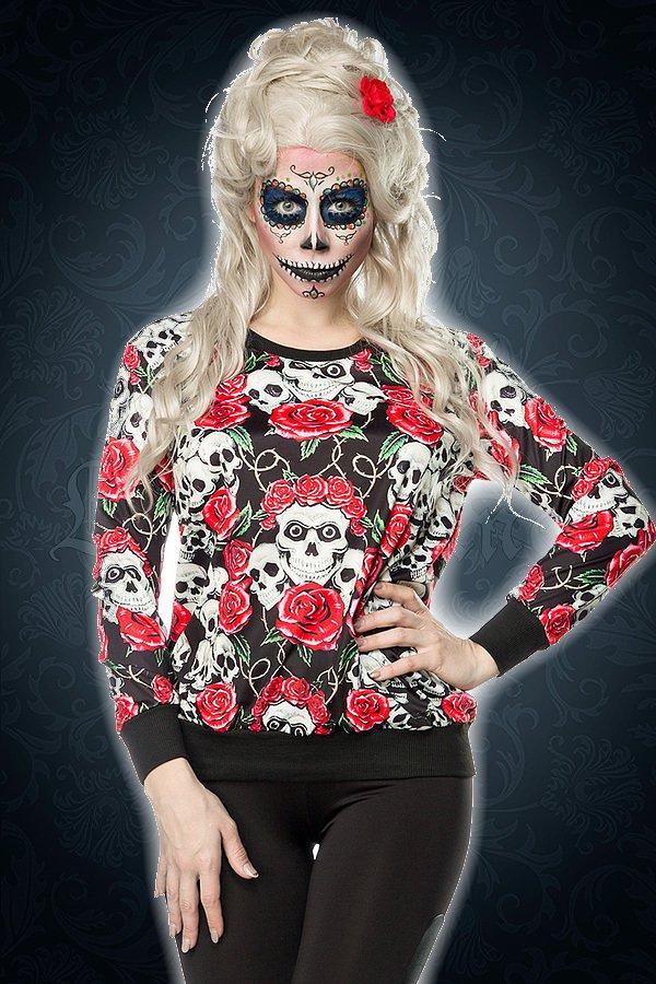 Skulls and Roses Sweatshirt rot/schwarz/weiß