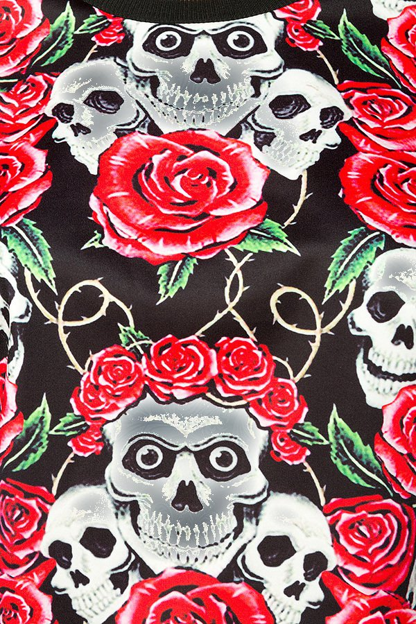 skulls and roses sweatshirt rot schwarz wei longsleeves. Black Bedroom Furniture Sets. Home Design Ideas