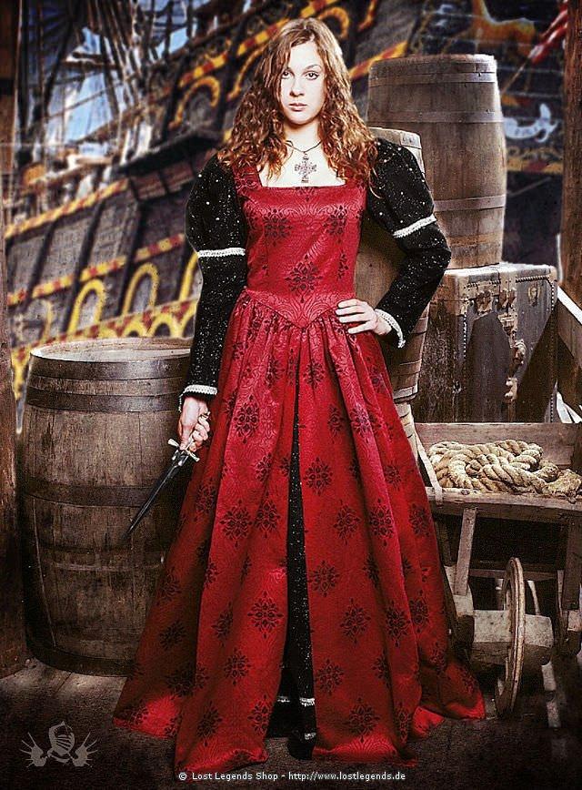 Spätmittelalterliches Kleid mit Jaquard