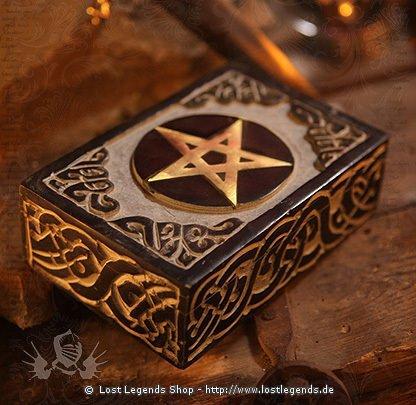 Speckstein Altarkästchen mit goldenem Pentagramm