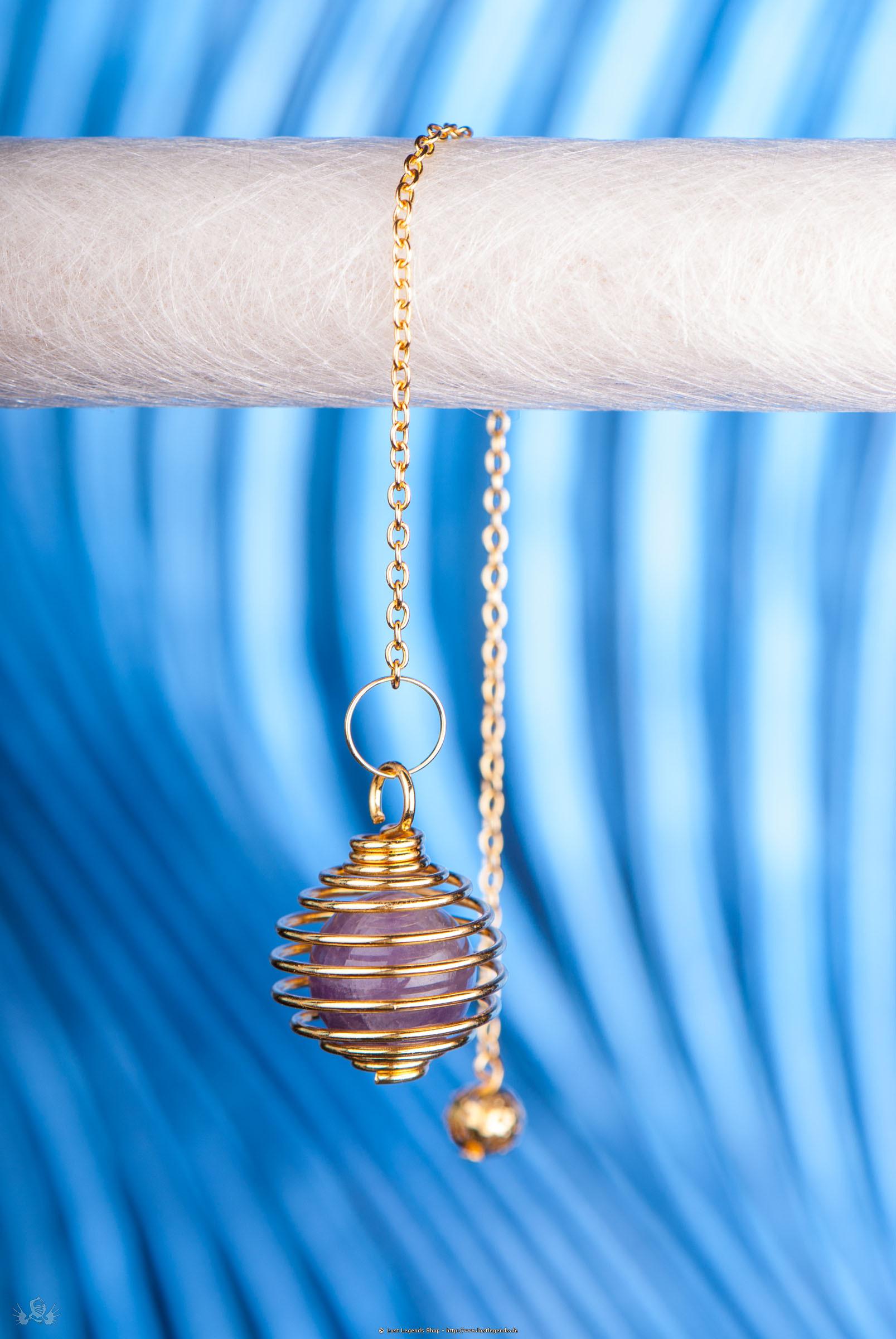 Spiralpendel mit Amethyst vergoldet
