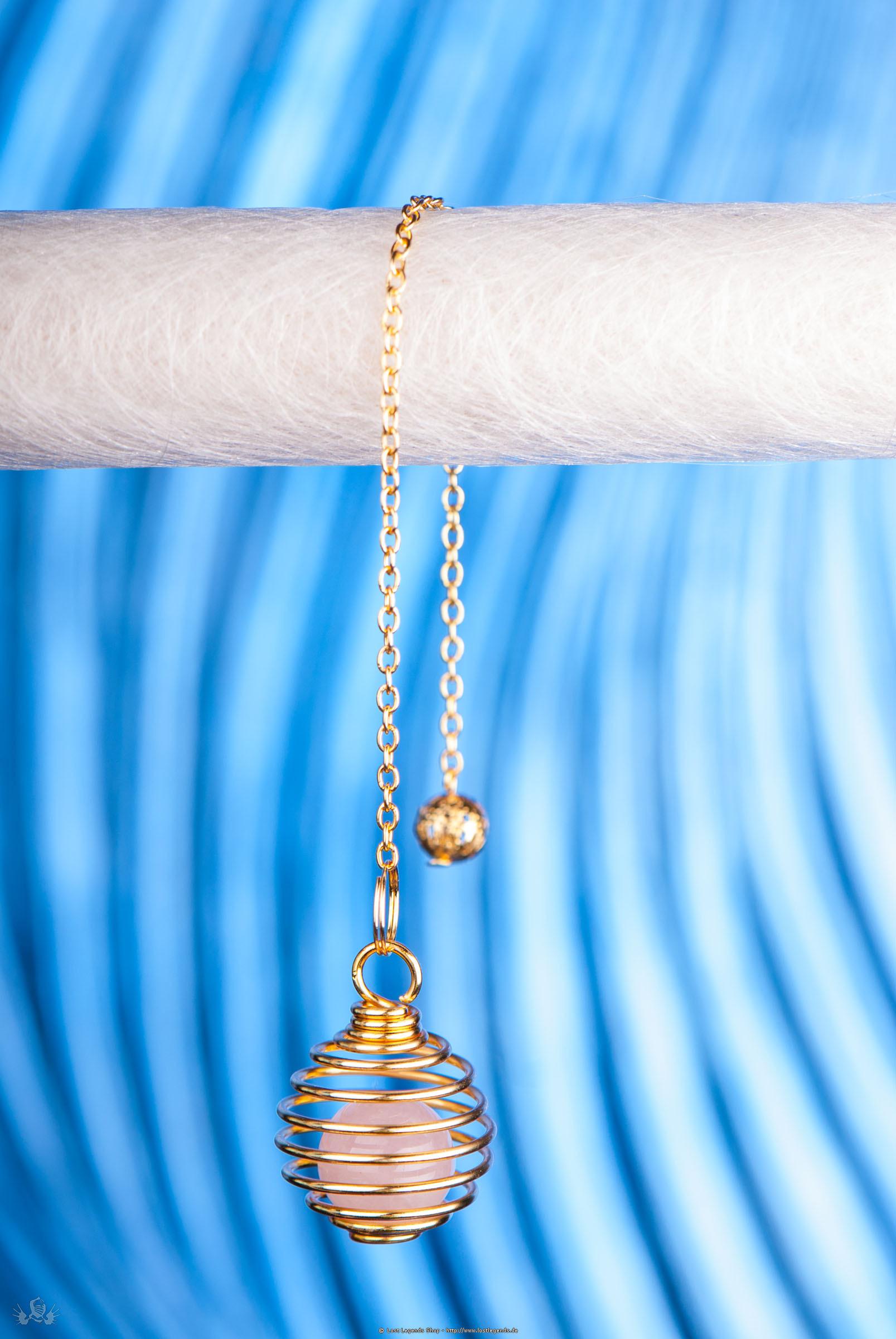 Spiralpendel mit Rosenquarz vergoldet