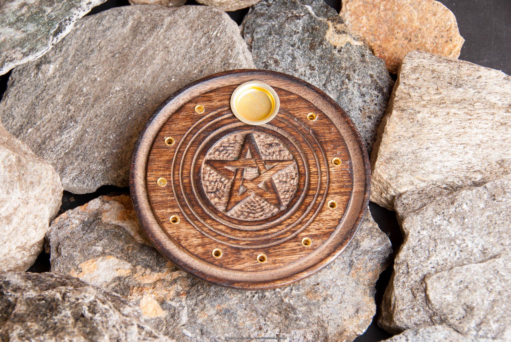 Stäbchen- und Kegelhalter Pentagramm Holz