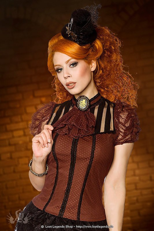 Steampunk Bluse mit Brosche, braun