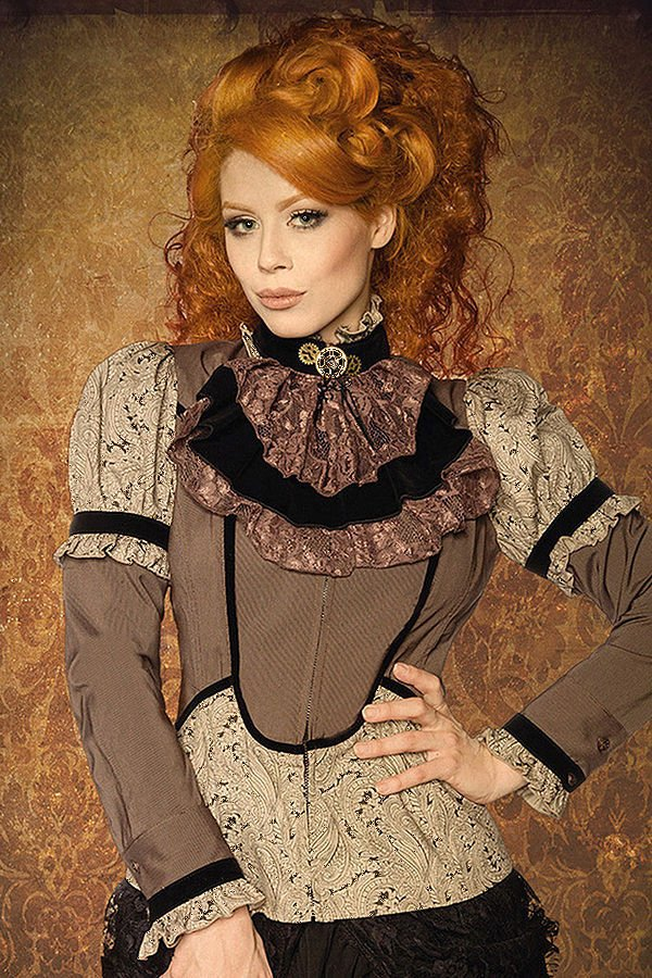 steampunk bluse mit jabot braun beige blusen tops. Black Bedroom Furniture Sets. Home Design Ideas