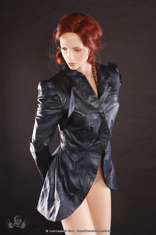 Steampunk Designer Leder-Jacke graublau-metallic