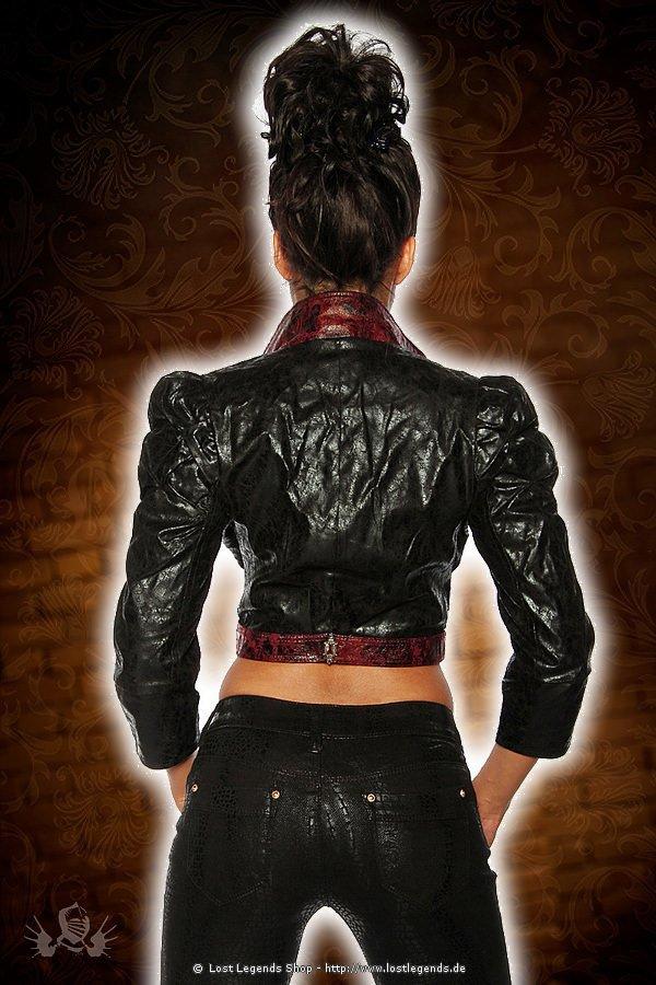 Steampunk-Jacke in Lederoptik schwarz-rot