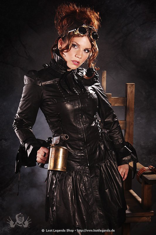 Steampunk Jacket Leder, Schwarz