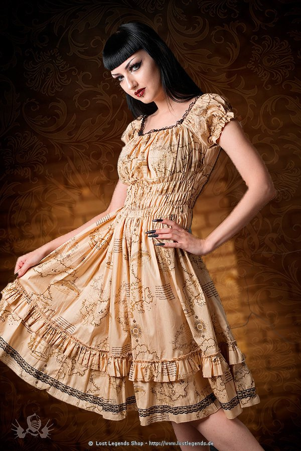 steampunk kleid gothabilly map dress kleider. Black Bedroom Furniture Sets. Home Design Ideas
