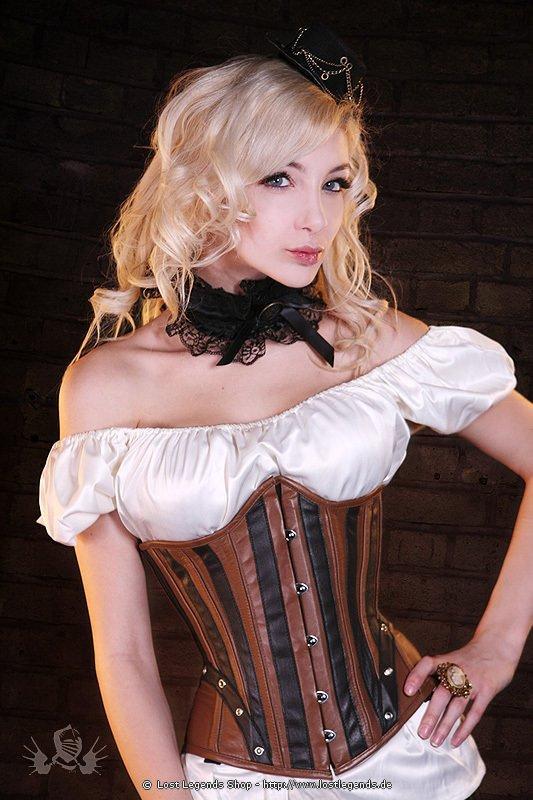 Steampunk Leather Unterbrust Korsett