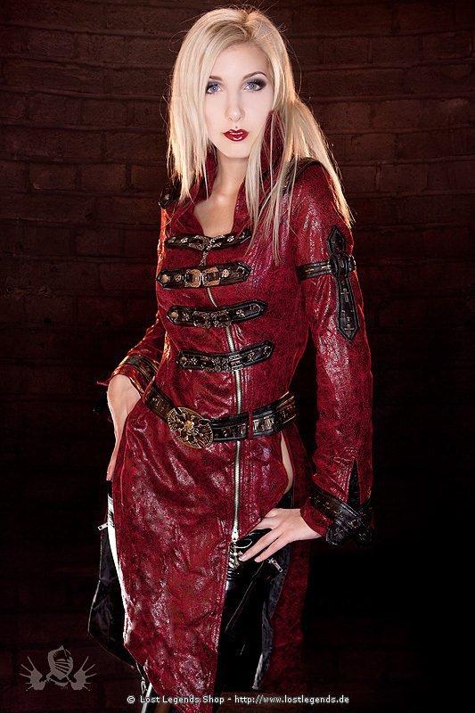 Steampunk Mantel Kunstleder, rot
