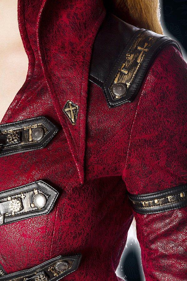 Steampunk-Mantel rot/schwarz