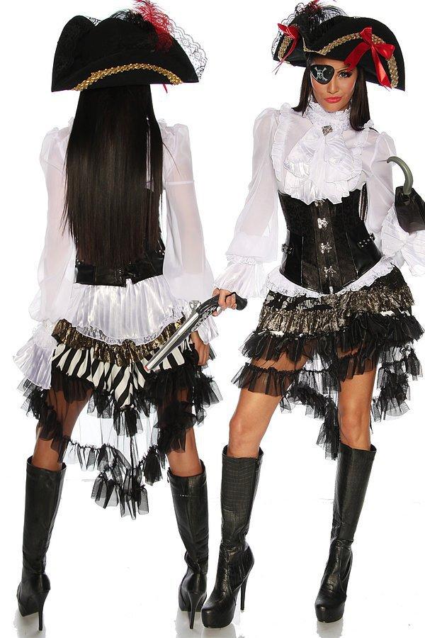 Steampunk-Piraten-Unterbrust-Corsage schwarz