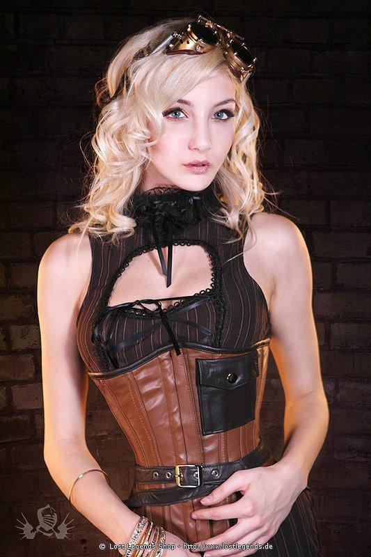 Steampunk Pocket Korsett, Leder