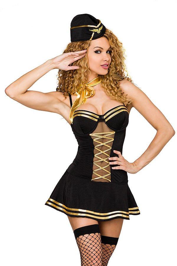 Stewardess-Kostüm schwarz/gold