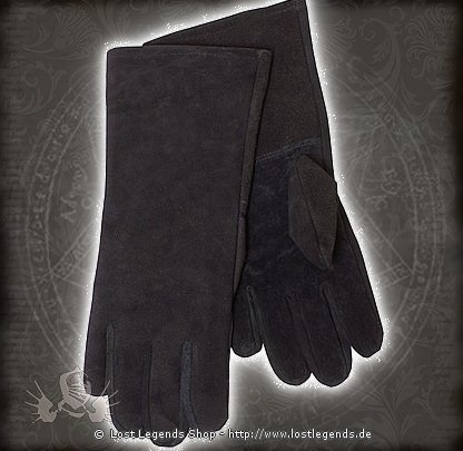 Stulpenhandschuh Wildleder, schwarz