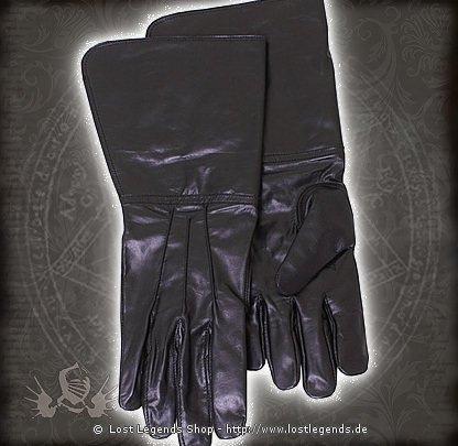 Stulpenhandschuhe Glattleder, schwarz