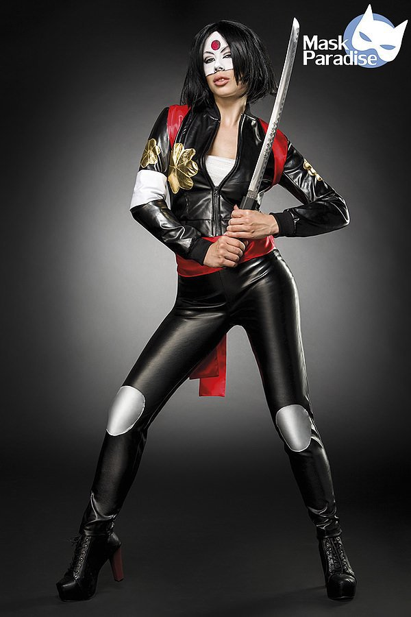 Suicide Samurai Kostümset schwarz/rot