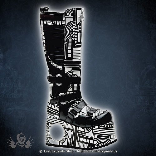 Techno-856UV Black-White Demonia Cyber Schuhe