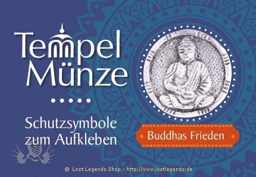 Tempelmünze Buddha Buddhas Frieden versilbert