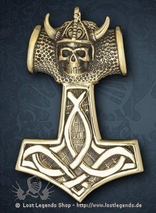Großer Thor Hammer mit Helm, Bronze