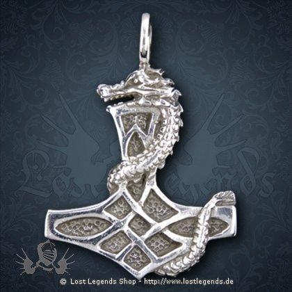 Thorhammer mit Schlange Anhänger, Silber