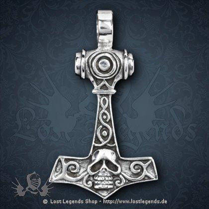 Thorhammer mit Skull Anhänger, Silber