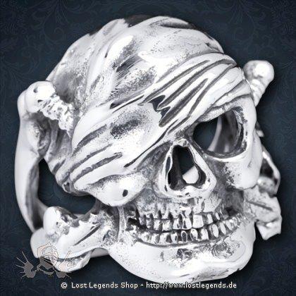 Totenkopf-Ring Pirate Silber