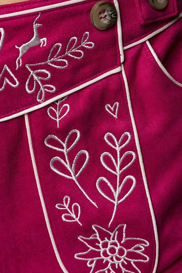Trachtenhose mit Stickereien pink