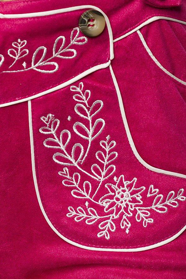 Trachtenshorts mit Stickereien pink