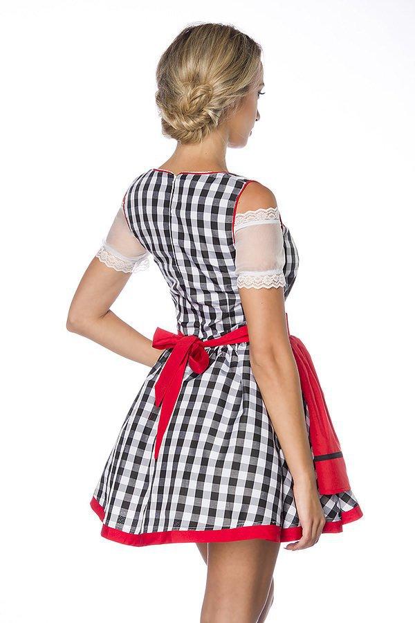 Traditionelles Minidirndl schwarz/weiß/rot