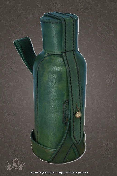 Trinkflasche grün, 600ml inkl. Lederhülle