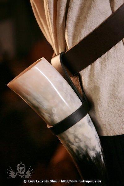 Trinkhorn Gürtelhalter Leder, einfach
