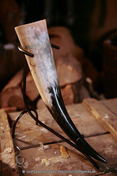 Trinkhorn-Ständer gross schwarz lackiert, gross