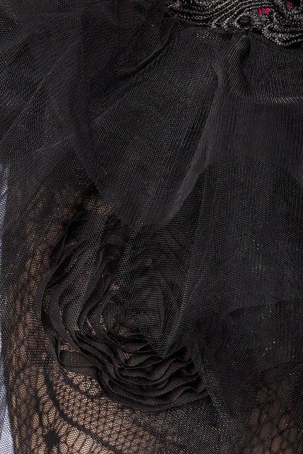 Tüll-Rock mit Rosen schwarz