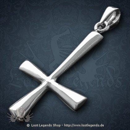 Umgedrehtes Kreuz Anhänger, Silber