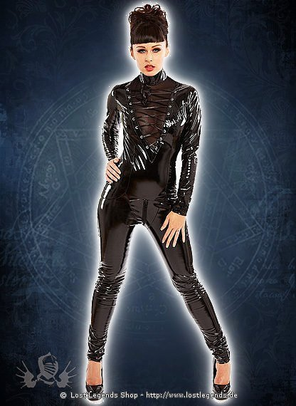 Vampira Catsuit Black Lack
