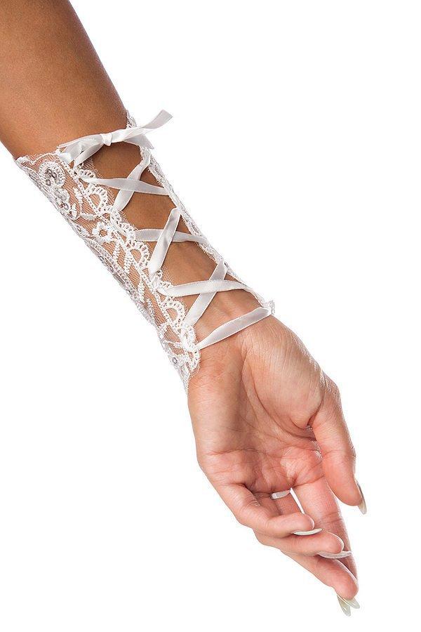 verzierte Armstulpen weiß