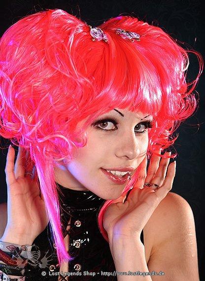 Vibrant Pink Curly Wig Perücke, Kunsthaar