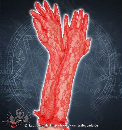Victorian long Gloves rot Handschuhe Spitze