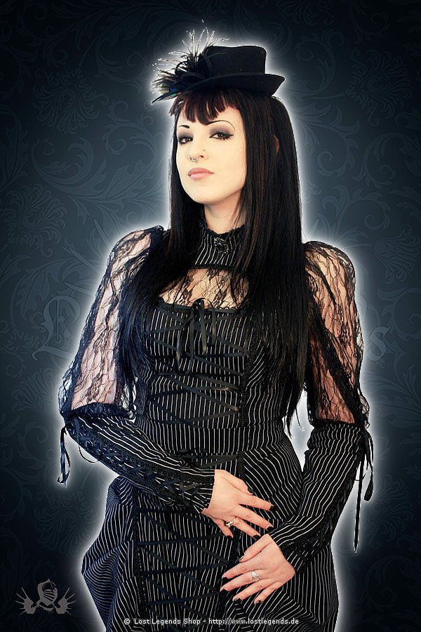 Victorian pinstripe long sleeved lace blouse