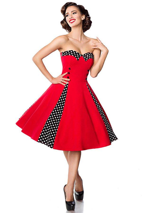 Vintage-Kleid mit Bolero rot/schwarz/weiß