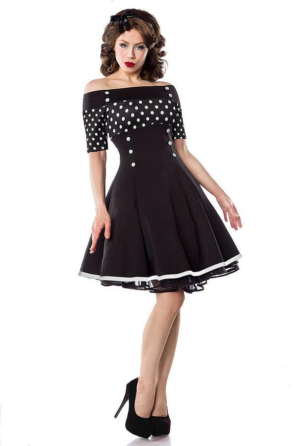 Vintage-Kleid schwarz/weiß/dots