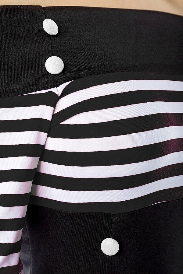 Vintage-Kleid schwarz/weiß/stripe